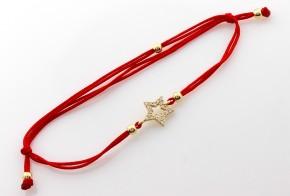 Златна гривна с червен конец със звездичка ZGC0010