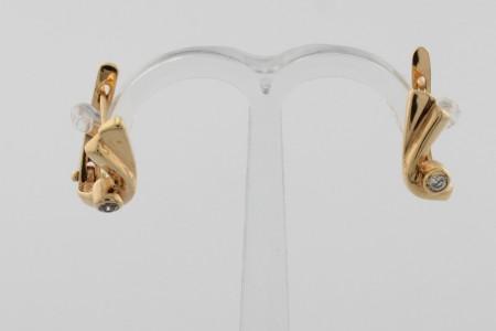 Дамски обеци от жълто злато с циркони - 2,67 грама