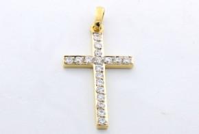 Златен кръст от  жълто злато  с циркони  VK0029