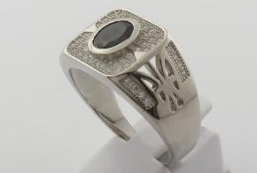 Мъжки сребърен пръстен с циркони SM0031