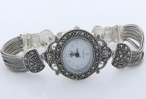 Дамски Сребърен часовник с марказити  CH0007