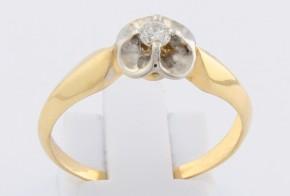 Годежен пръстен от бяло и жълто злато с диамант D1190