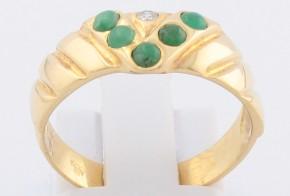 Дамски пръстен от жълто злато с изумруди и диамант D79
