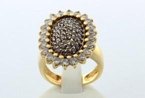 Дамски пръстен от жълто злато с черни и бели циркони DD0013V