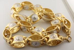 Златен ланец от бяло и жълто злато Versace