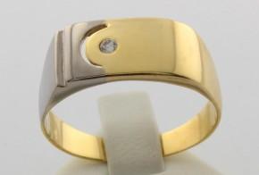 Мъжки пръстен от бяло и  жълто злато MD0013