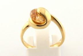 Дамски пръстен от жълто злато с циркон DD0085