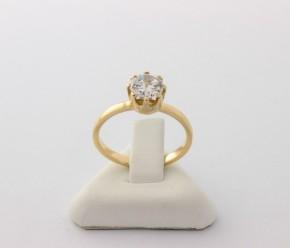 Годежен пръстен от жълто злато с циркон- 2,64   грама ,размер 53