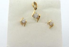 Дамски комплект от жълто злато с циркони  К0096