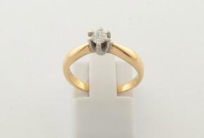 Годежен пръстен от бяло и жълто  злато с диамант D4014