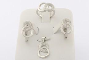 Дамски сребърен комплект с циркони SKT0004