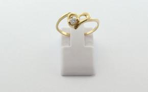 Дамски пръстен от жълто злато с циркон DD0218