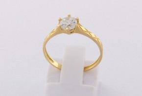 Годежен пръстен от жълто злато с циркон GD0150