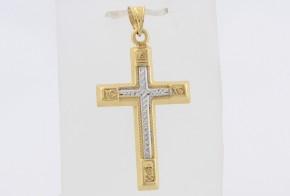 Златен кръст от бяло и жълто злато VK0079