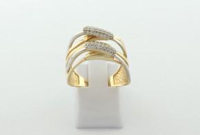 Дамски пръстен от бяло и жълто злато с циркони DD0202