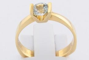 Годежен пръстен от жълто злато с аквамарин D1060