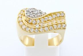 Дамски пръстен от бяло и  жълто злато с циркони  DD0061