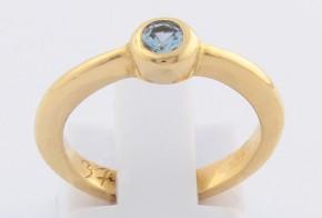 Годежен пръстен от жълто злато с аквамарин D37