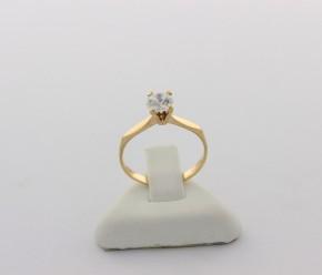 Годежен пръстен от жълто злато с циркон - 1,33 грама