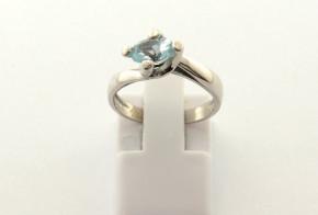 Годежен пръстен от бяло  злато с аквамарин D4018
