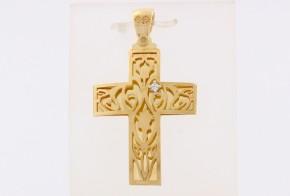 Златен кръст от жълто злато с циркон VK0128