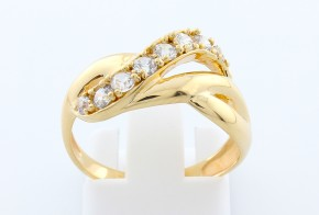 Дамски пръстен от жълто злато с циркони DD0070