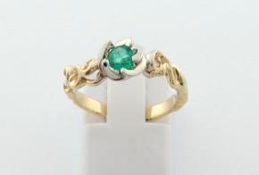 Годежен пръстен от бяло и жълто  злато с диамант D3089