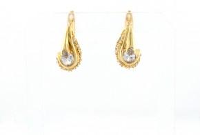 Златни обеци от жълто злато с циркони OB0108