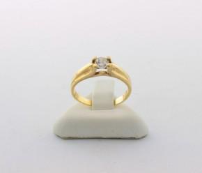 Годежен пръстен от жълто злато с циркони - 2,21  грама ,размер 51