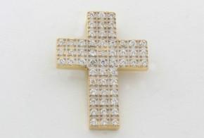 Златен кръст от  бяло и жълто злато с циркони VK0055