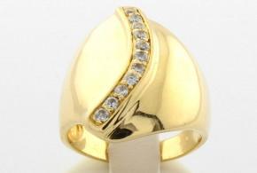 Дамски пръстен от жълто злато  с циркони DD0043V