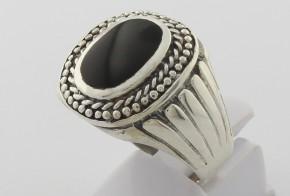 Мъжки сребърен пръстен с оникс SM0074