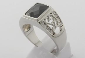 Мъжки сребърен пръстен с циркони SM0029