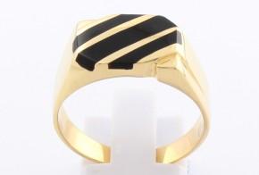 Мъжки пръстен от жълто злато с оникс MD0065