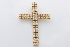 Златен кръст от жълто злато с циркони VK0005