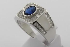 Мъжки сребърен пръстен с циркони SM0025