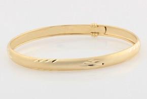Златна твърда гривна от жълто злато елипса GR0122