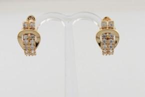 Дамски обеци от жълто злато с циркони - 3,94  грама