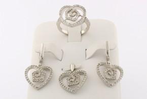Дамски сребърен комплект с циркони SKT0008