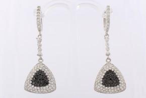 Сребърни обеци с циркони SO0016