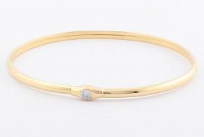 Златна твърда гривна от жълто злато с циркон GR0129