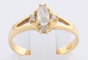 Годежен пръстен от жълто злато с циркони GD0138