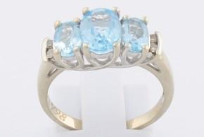 Дамски пръстен от бяло злато с аквамарини и диаманти D998