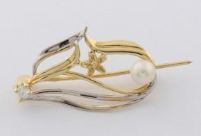 Брошка от бяло и жълто злато с перла и циркон B0002