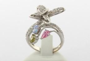 Дамски пръстен от  бяло злато с циркони DD0047