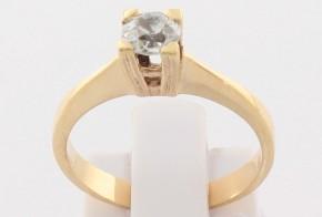 Годежен пръстен от жълто злато с диамант D2101