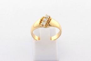 Годежен пръстен oт  жълто злато с циркон GD0172