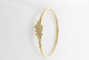 Златна твърда гривна с циркони  GR0054