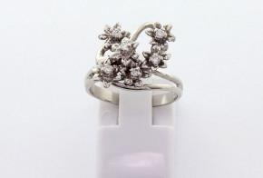 Годежен пръстен от от  бяло  злато с диамант D3070