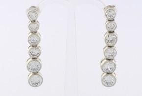 Сребърни обеци с циркони SO0015